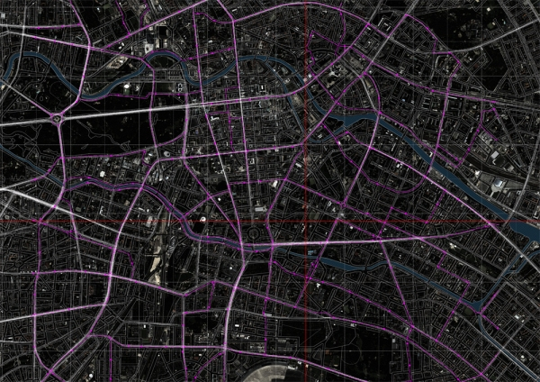 overlaid bus routes and space syntax.